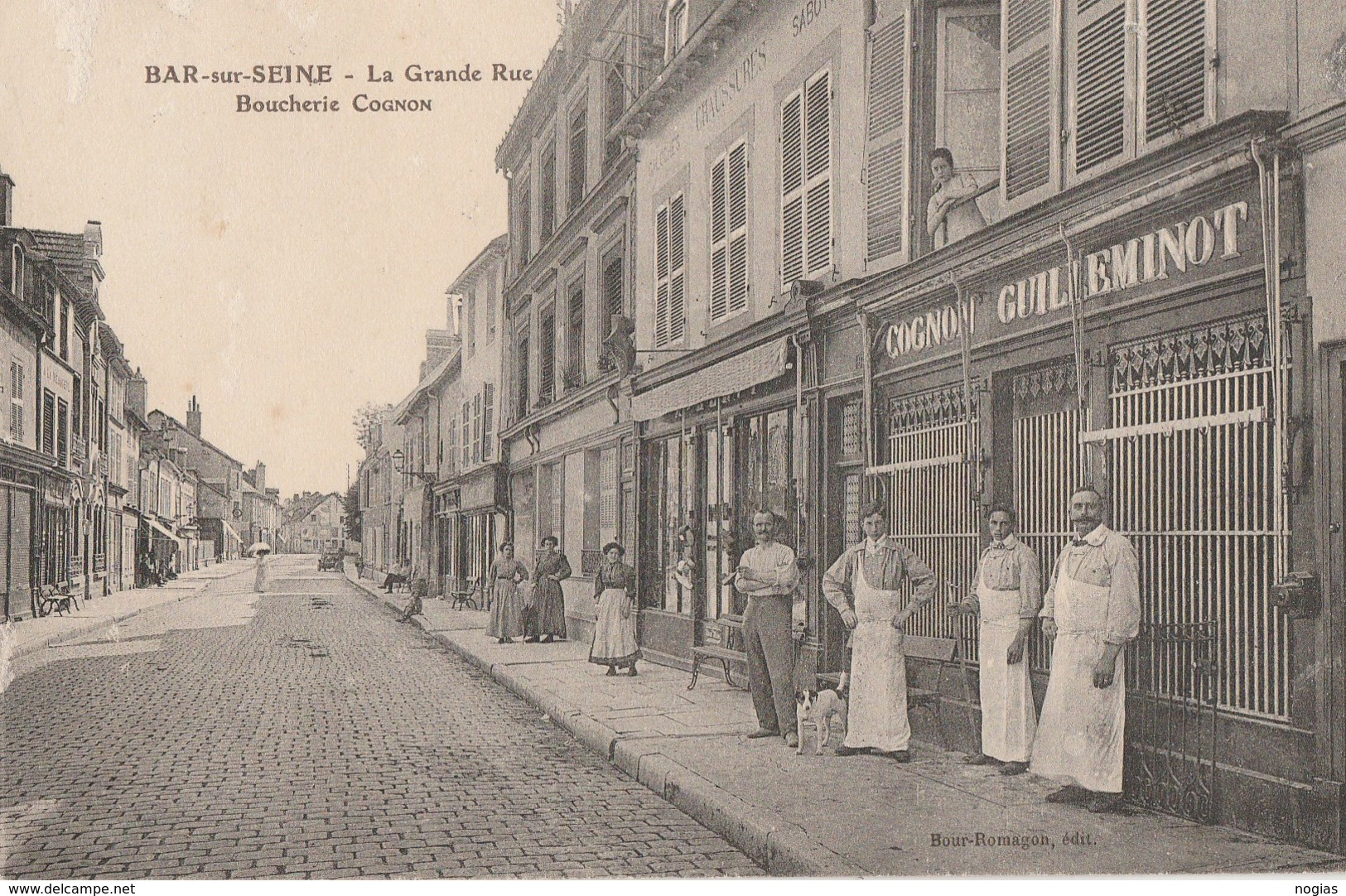 BAR SUR SEINE - LA GRANDE RUE - LA BOUCHERIE COGNON GUILLEMINOT - BELLE CARTE TRES ANIMEE - COMMERCES - RUE PAVEE - TOP - Bar-sur-Seine