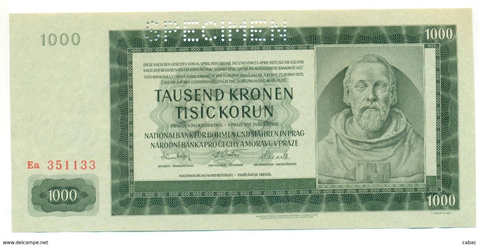 Čechya Morava, Tisict Korun, 1000 Korun, Tausend Kronen, SPECIMEN, 1942 , Serie Ea, Bohemia Moravia - Tchécoslovaquie
