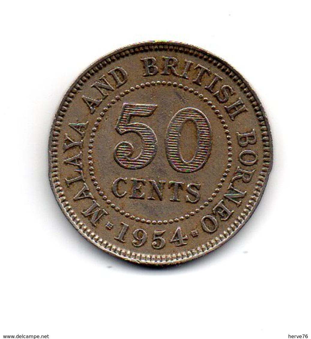 MALAYSIE - Pièce 50 Cents 1954- Malaya And British Borneo - Queen Elisabeth II - Malaysie