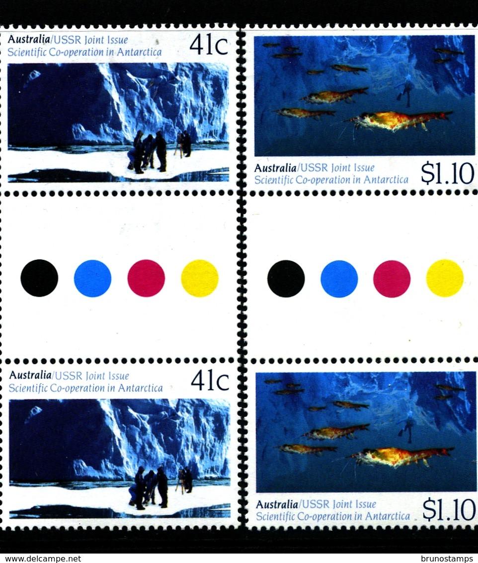 AUSTRALIA - 1990  SCIENTIFIC  COOPERATION IN ANTARCTICA  SET  UNFOLDED  GUTTER PAIRS  MINT NH - 1990-99 Elizabeth II
