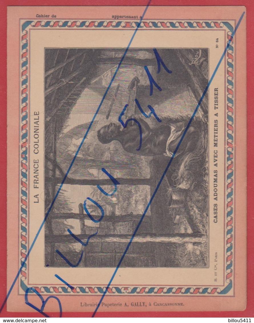 Protége Cahier Ancien La France Coloniale . GABON ( Cases Adoumas Avec Métiers à Tisser ) - Protège-cahiers