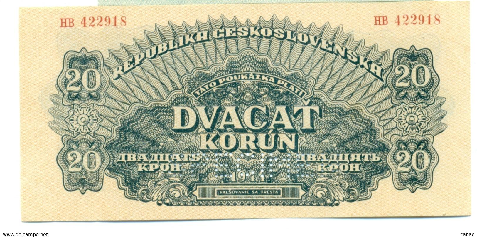 Czechoslovakia, 20 Korun, SPECIMEN, 1944, HB, Occupation, Ww2, Banknote, Czech, Slovakia, Bohemia, Moravia - Tchécoslovaquie
