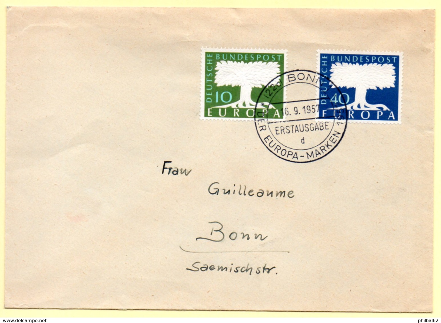 Europa 1957, FdC. Allemagne. Oblitération 16/09/1957 Sur Lettre - Europa-CEPT