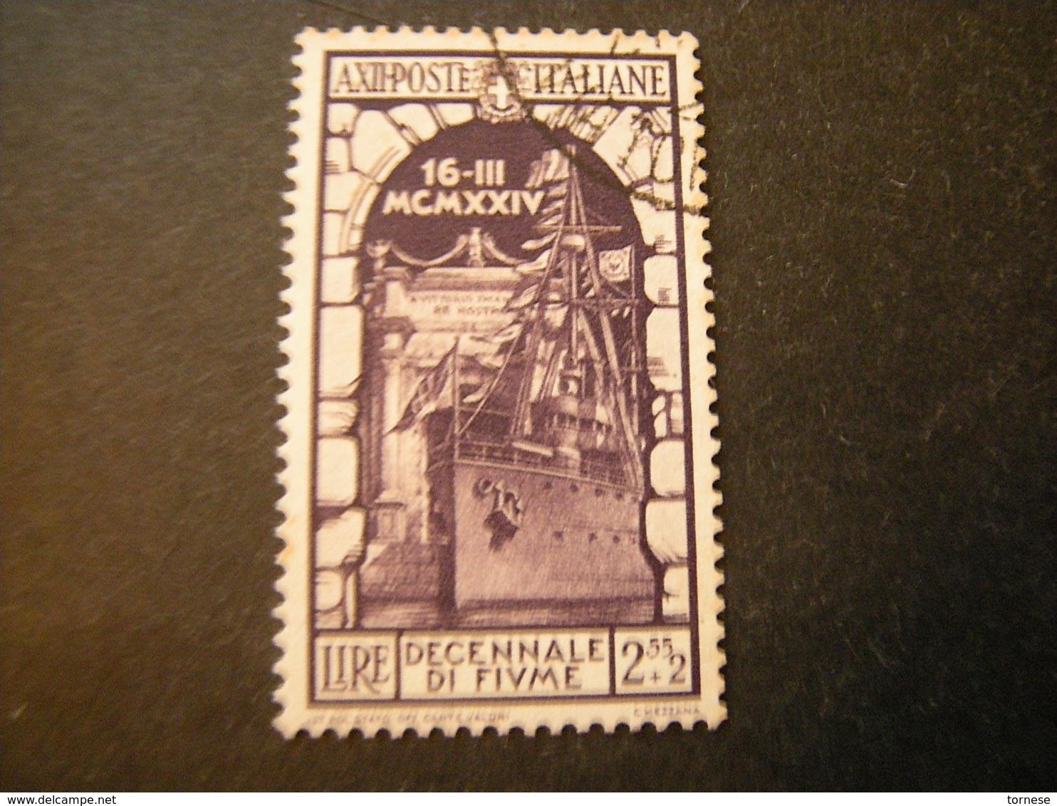 1934 - ANNESSIONE DI FIUME , Sass. N. 355. Usato, TTB,  OCCASION5 - Usati