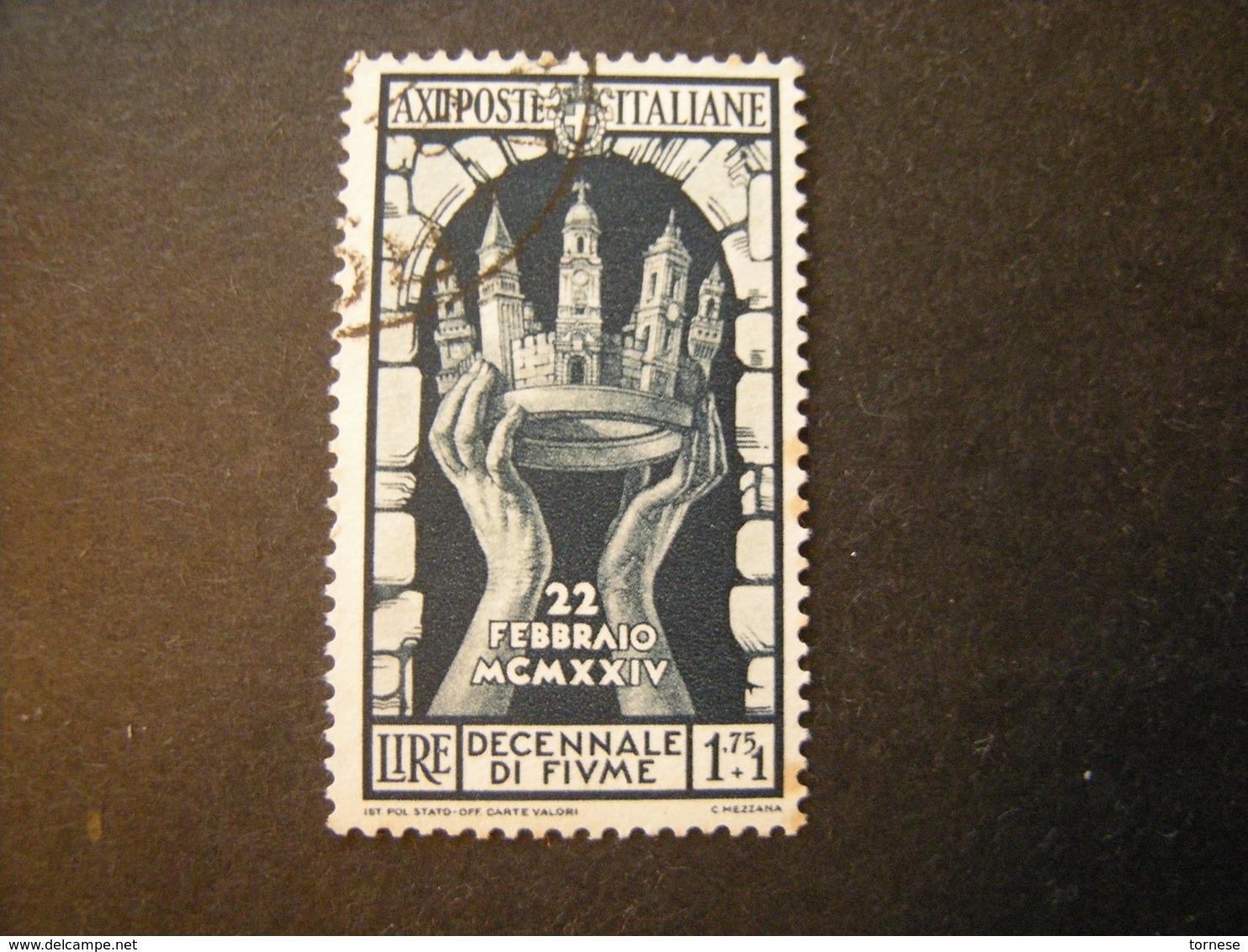 1934 - ANNESSIONE DI FIUME , Sass. N. 354. Usato, TTB,  OCCASIONE - Usati
