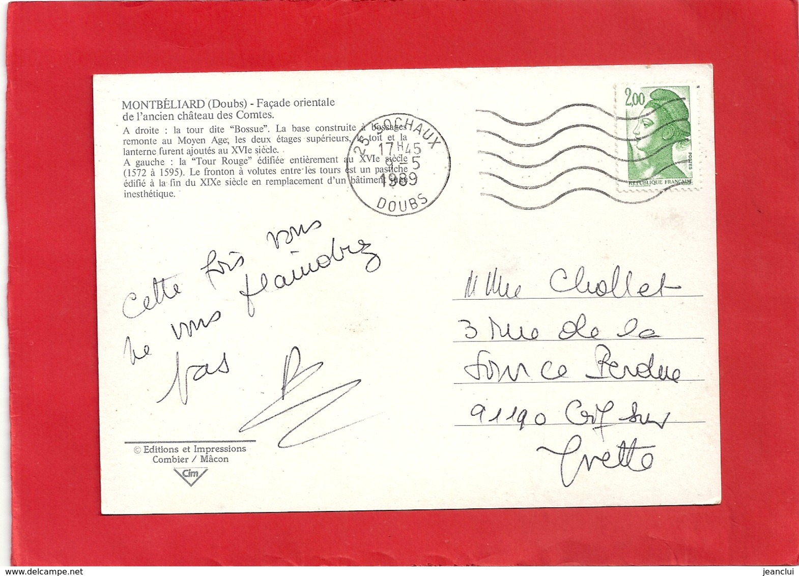 CPM. MONTBELIARD . FACADE ORIENTALE DE L'ANCIEN CHATEAU DES COMTES + HIST . AFFR AU VERSO LE 9-5-1989 . 2 SCANES - Montbéliard