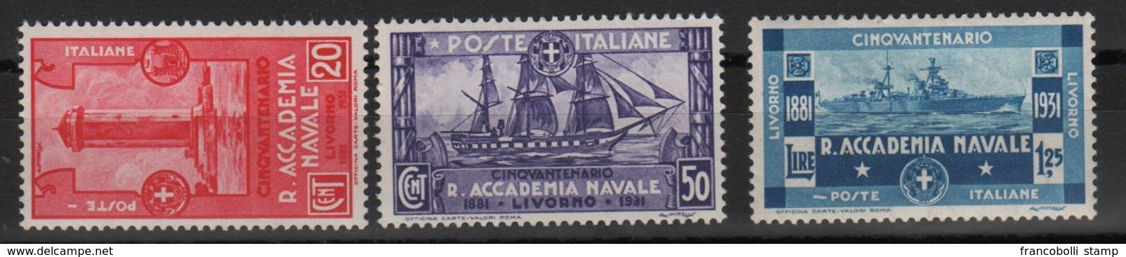 1931 Accademia Navale P.o Serie Cpl MLH - Usati
