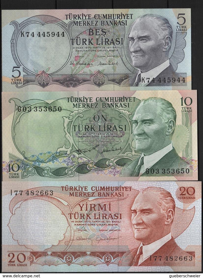 B 130 - TURQUIE Lot De 3 Billets De 5-10 Et 20 Lires état Neuf 1er Choix - Turquie