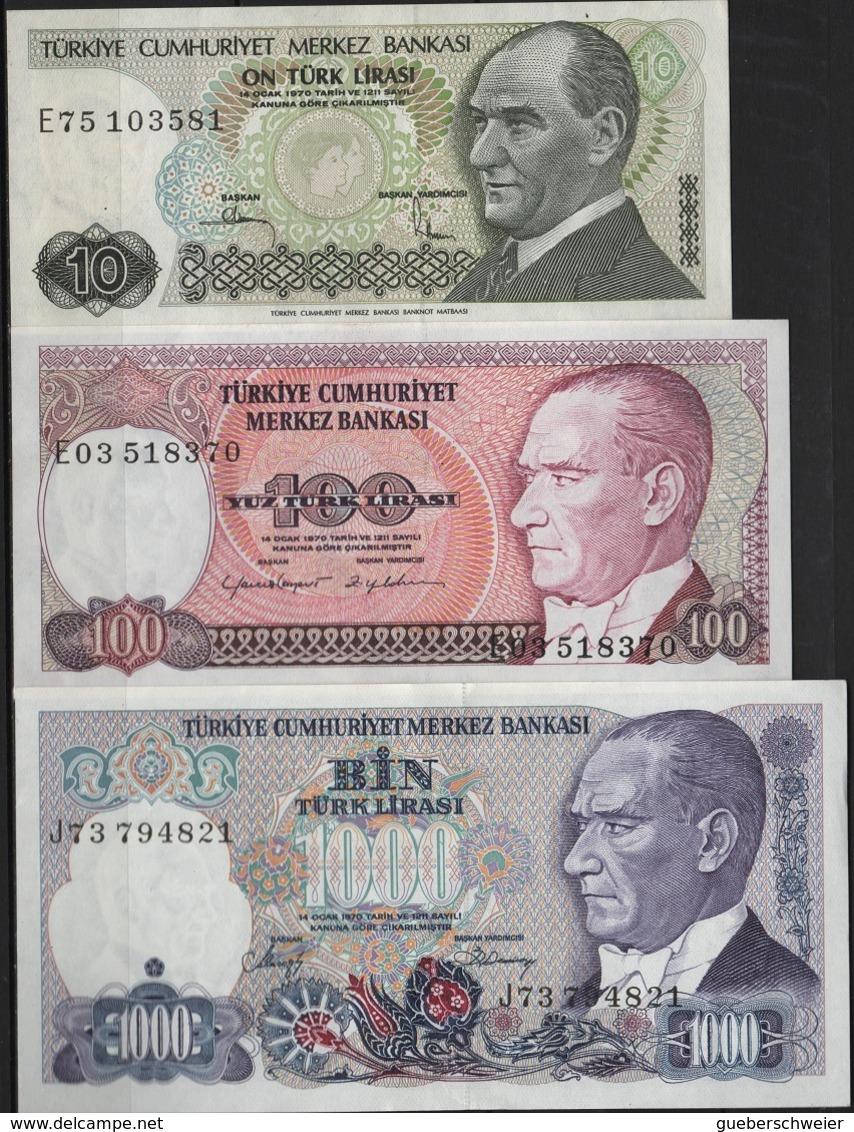 B 133 - TURQUIE Lot De 3 Billets De 10 - 100 Et 1000 Lires état Neuf 1er Choix - Turquie