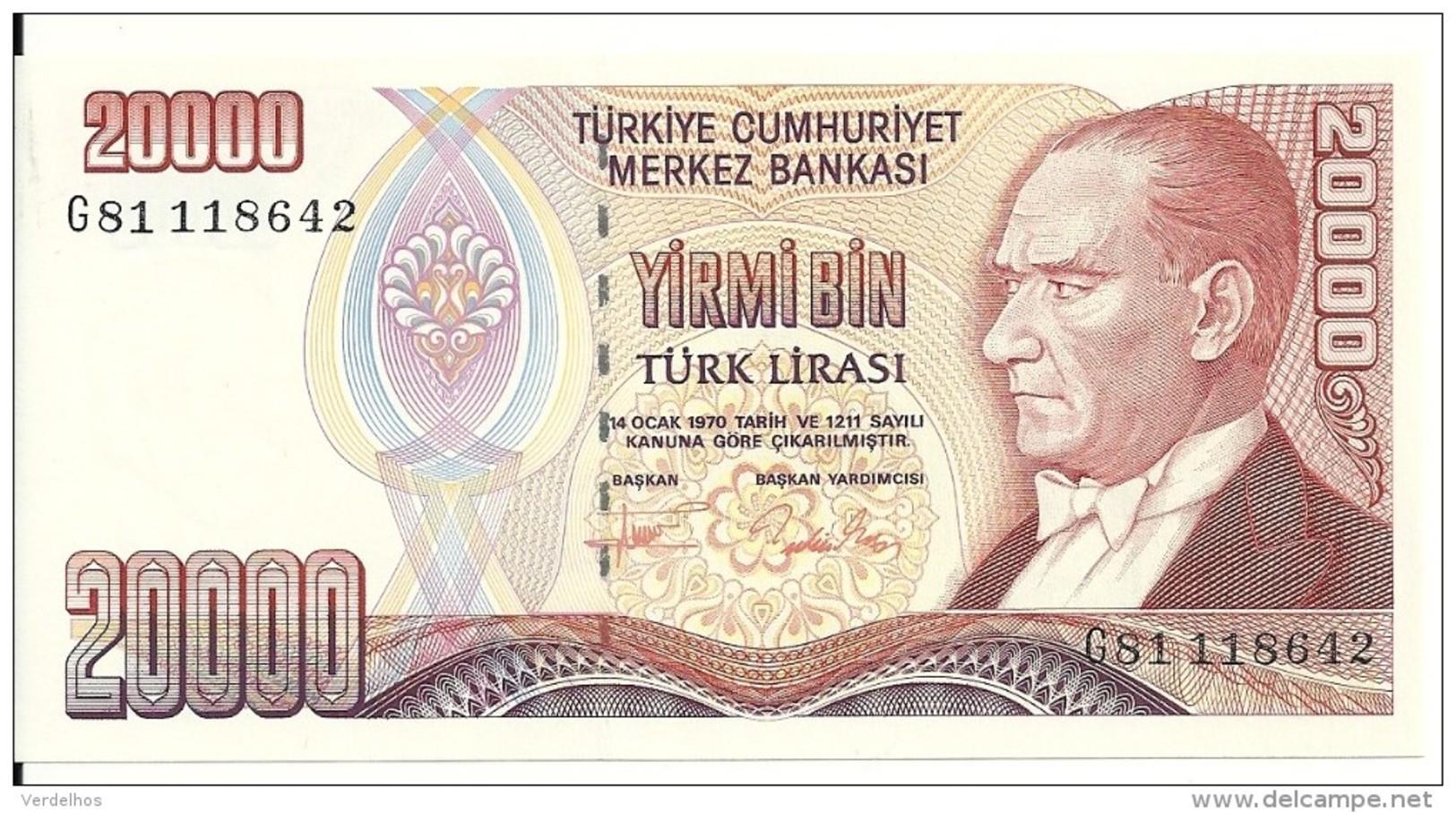 TURQUIE 20000 LIRA 1995 UNC P 202 - Turquie