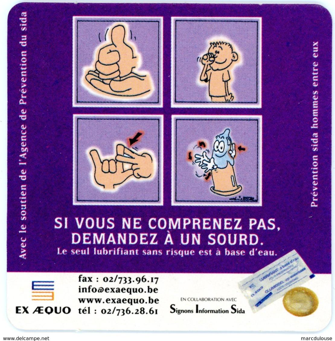 Belgium. Avec Le Soutien De L'agence De Prévention Du Sida. Prévention Aids Hommes Entre Eux. Si Vous Ne Comprenez Pas.. - Sous-bocks