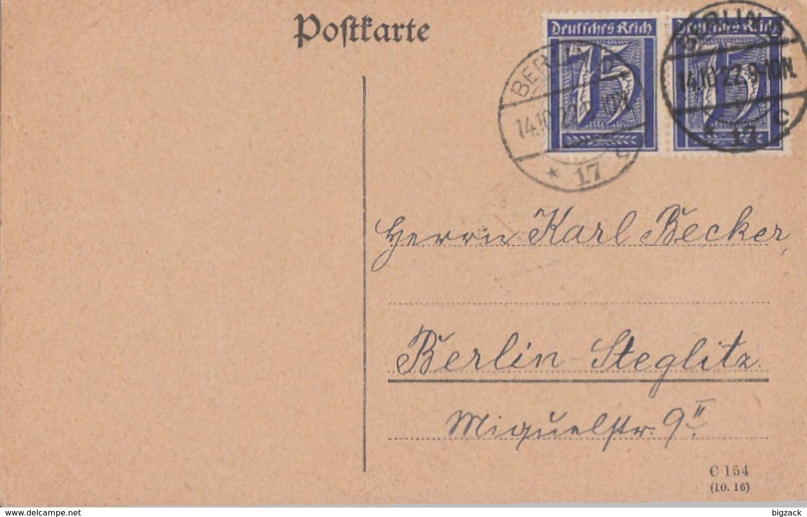 DR Ortskarte Mef Minr.2x 185 Berlin 14.10.22 - Briefe U. Dokumente