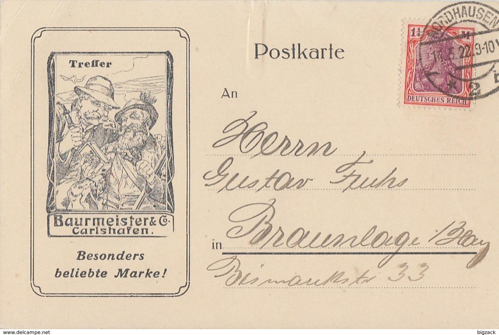 DR Werbekarte Baurmeister & Co EF Minr.198 Nordhausen 14.5.22 - Briefe U. Dokumente