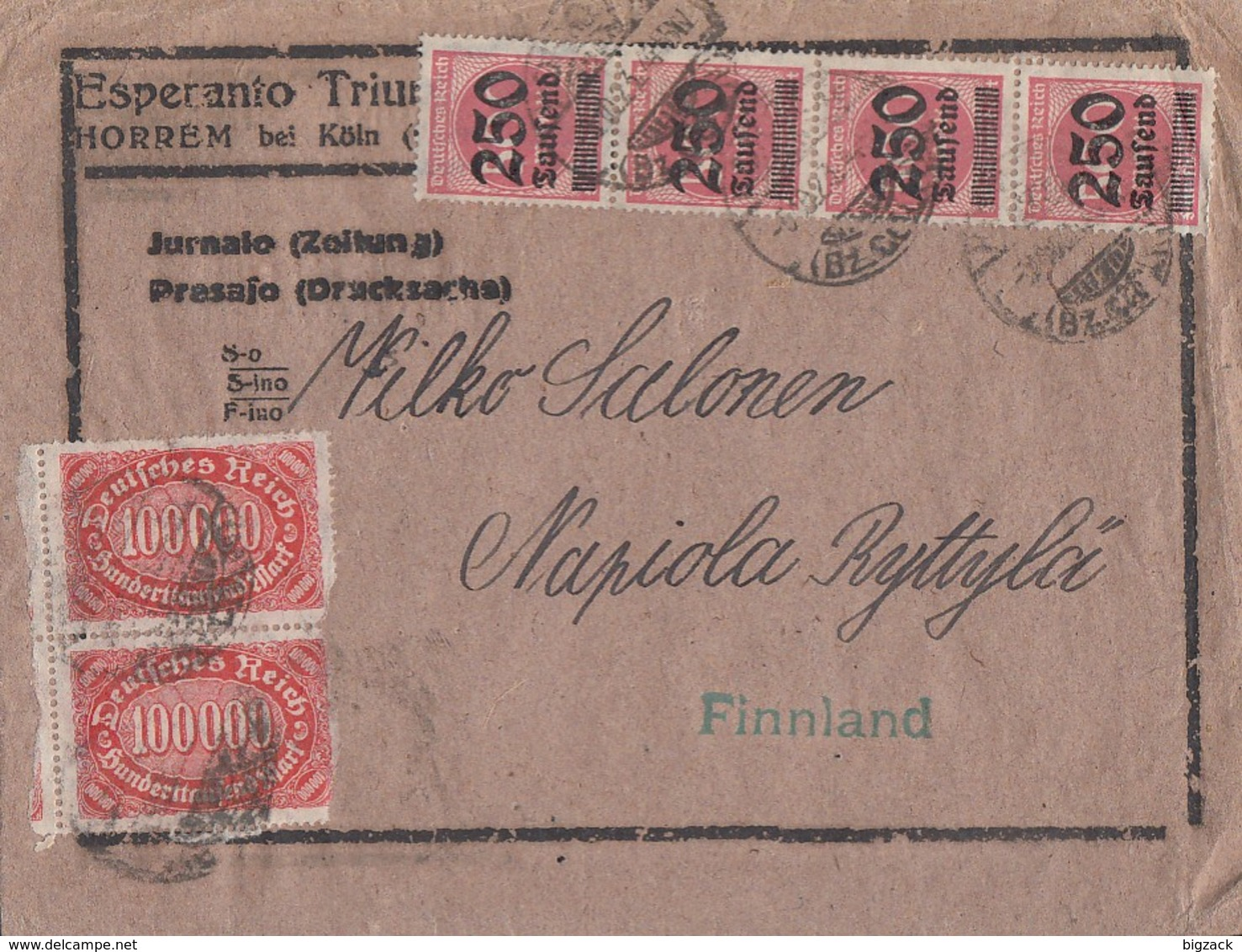 DR Streifenband Mif Minr.2x 257,4x 295 Horrem 5.10.23 Gel. Nach Finnland - Briefe U. Dokumente