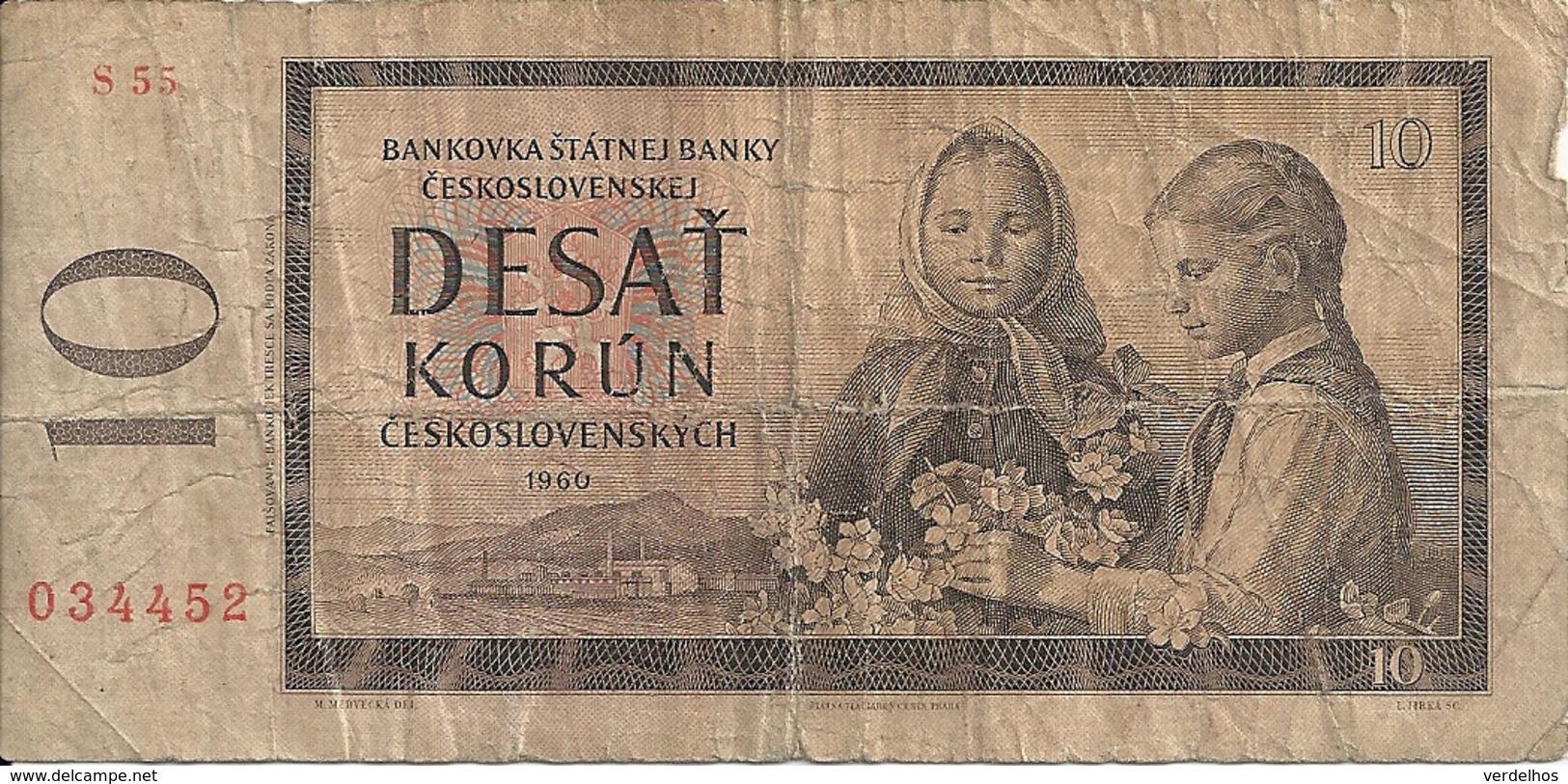 TCHECOSLOVAQUIE 10 KORUN 1960 VG+ P 88 - Tchécoslovaquie