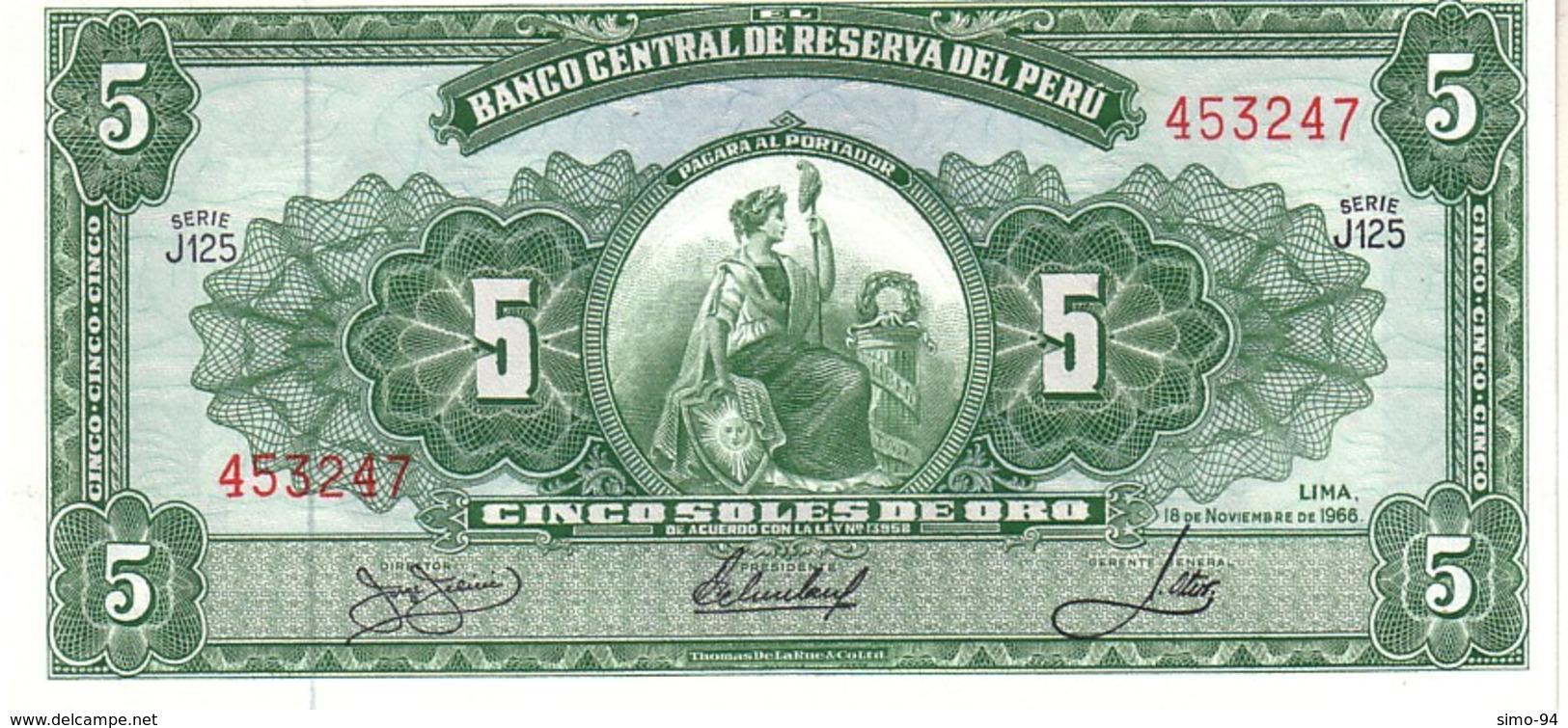Perù P.83 5  Soles 1966 Unc - Pérou