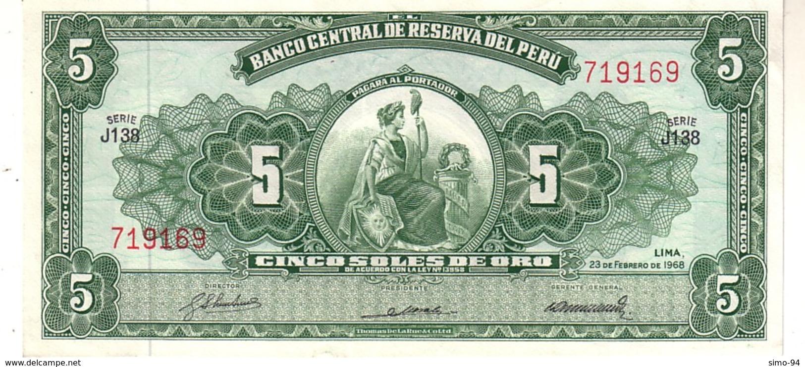Perù P.83 5  Soles 1968 Unc - Pérou