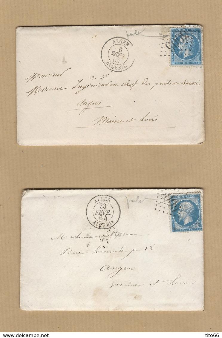2 Enveloppes Avec Correspondance N° 22 TAD Algérie GC 5005 Pour Angers Verso Ambulant Jour S - Poststempel (Briefe)