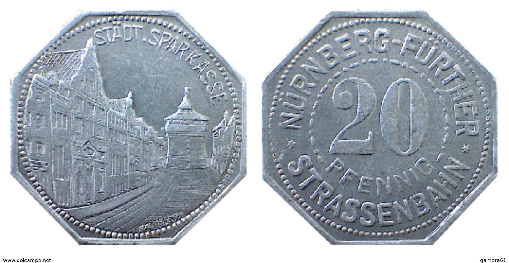 03908 GETTONE TOKEN JETON TRASPORTO TRANSIT STADT. SPARKASSE NURNBERG FURTHER STRASSENBAHN 20 PFENNIG - Allemagne