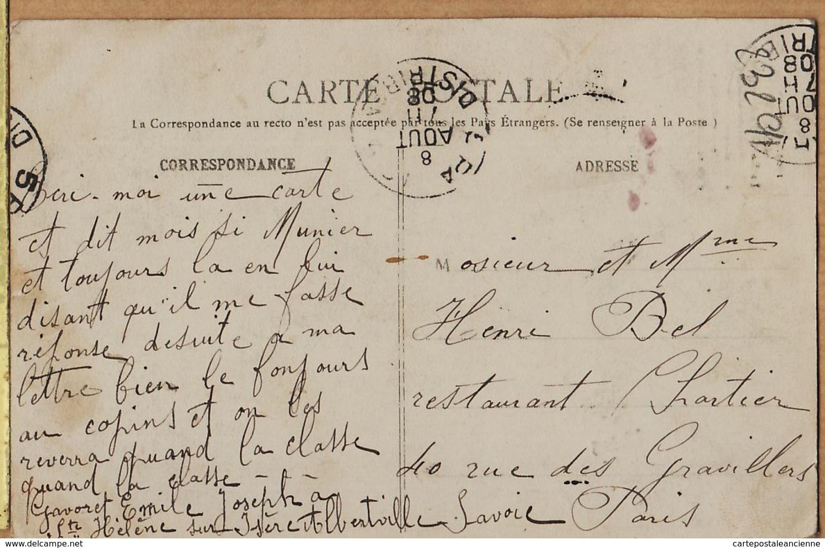 X73020 RAYNAUD 1903 ALBERTVILLE La Roche POURRIE Mémoire Alpinistes Morts à BEL Restaurant CHARTIER Gravilliers Paris - Albertville