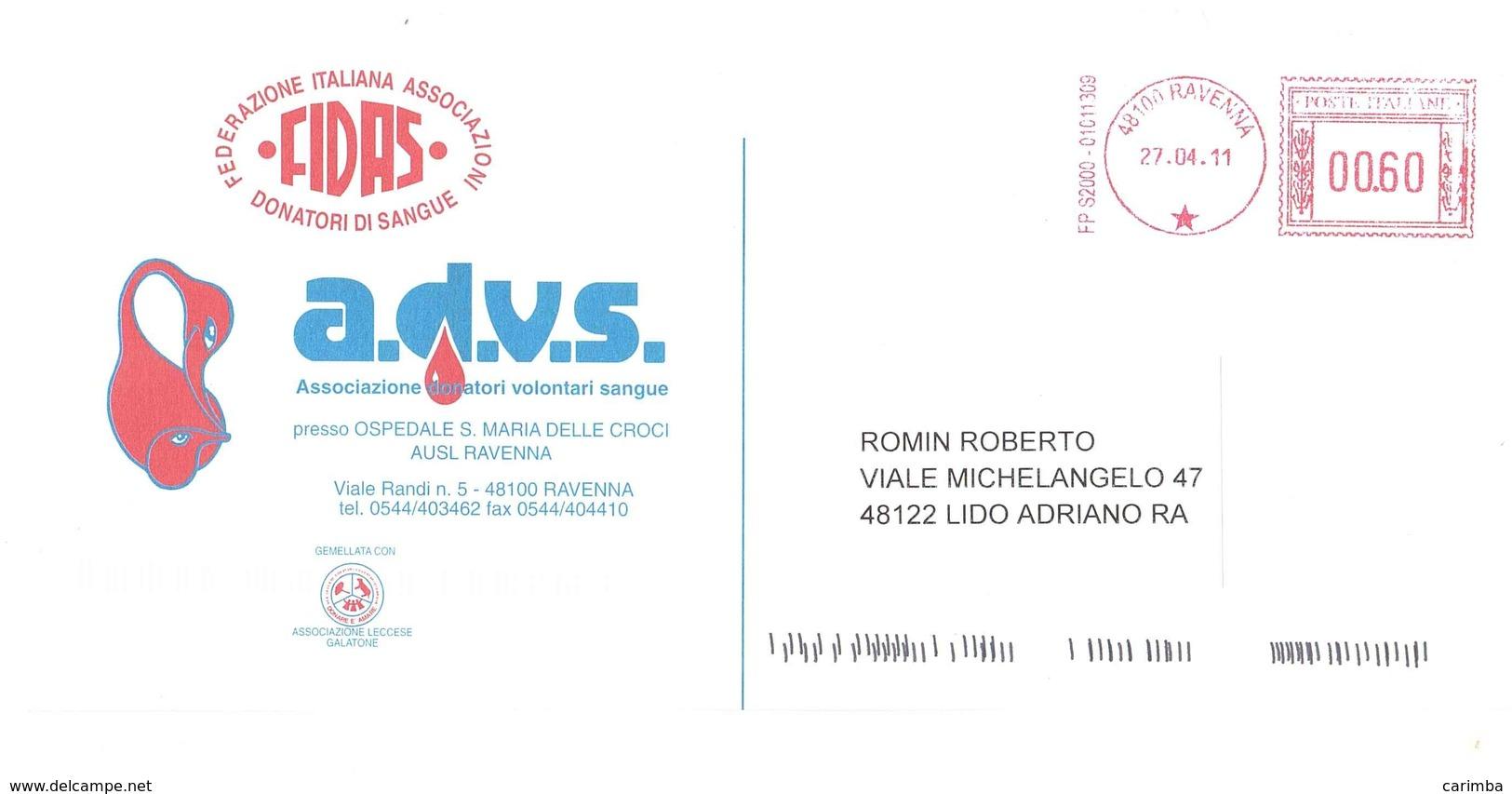 FEDERAZIONE ITALIANA ASSOCIAZIONE DONATORI DI SANGUE - Affrancature Meccaniche Rosse (EMA)