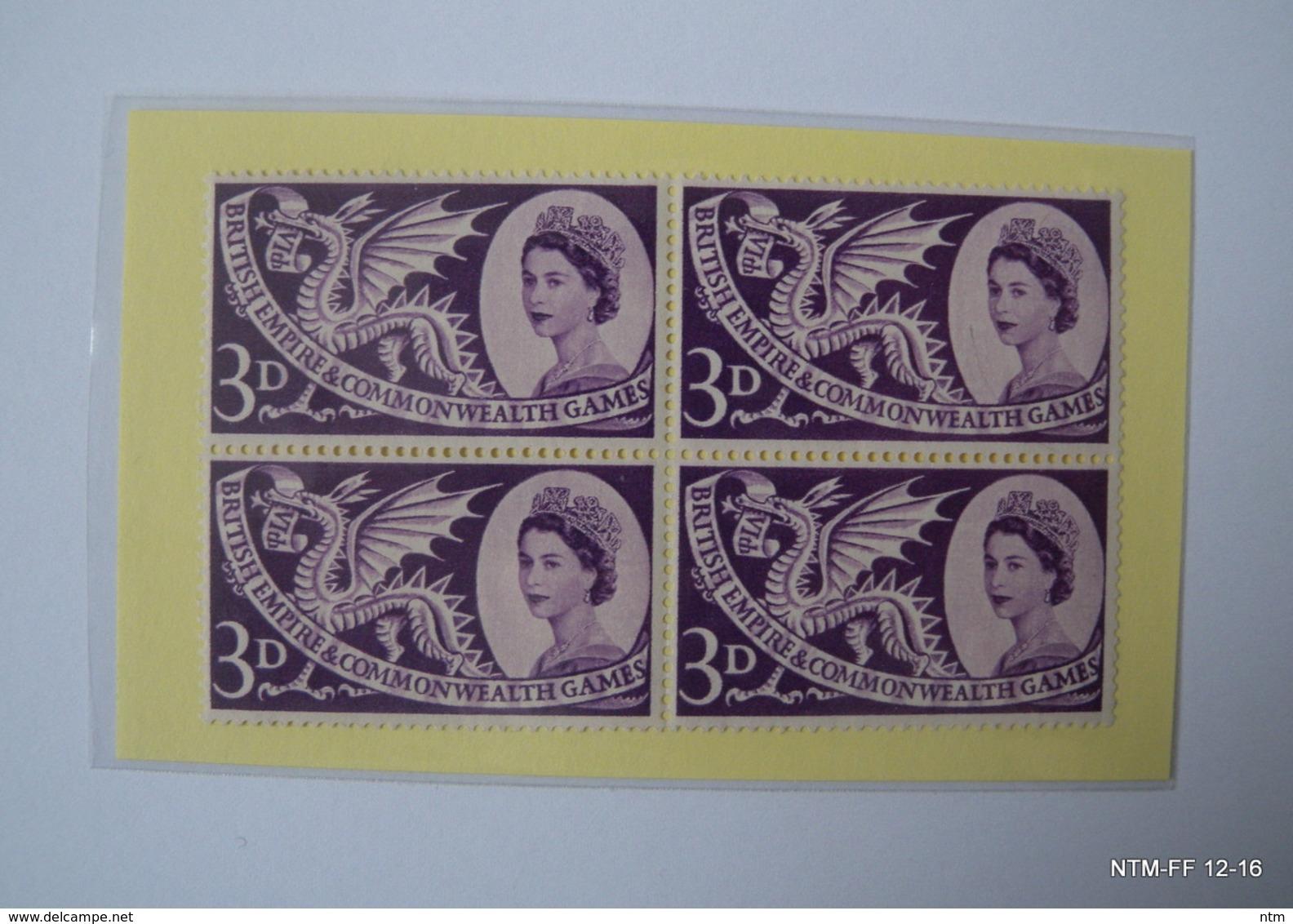 GREAT BRITAIN 1958: Queen Elizabeth II - COMMON WEALTH GAMES, CARDIFF SG 567-69. MNH - BLOCKS OF 4 STAMPS - 1952-.... (Elizabeth II)