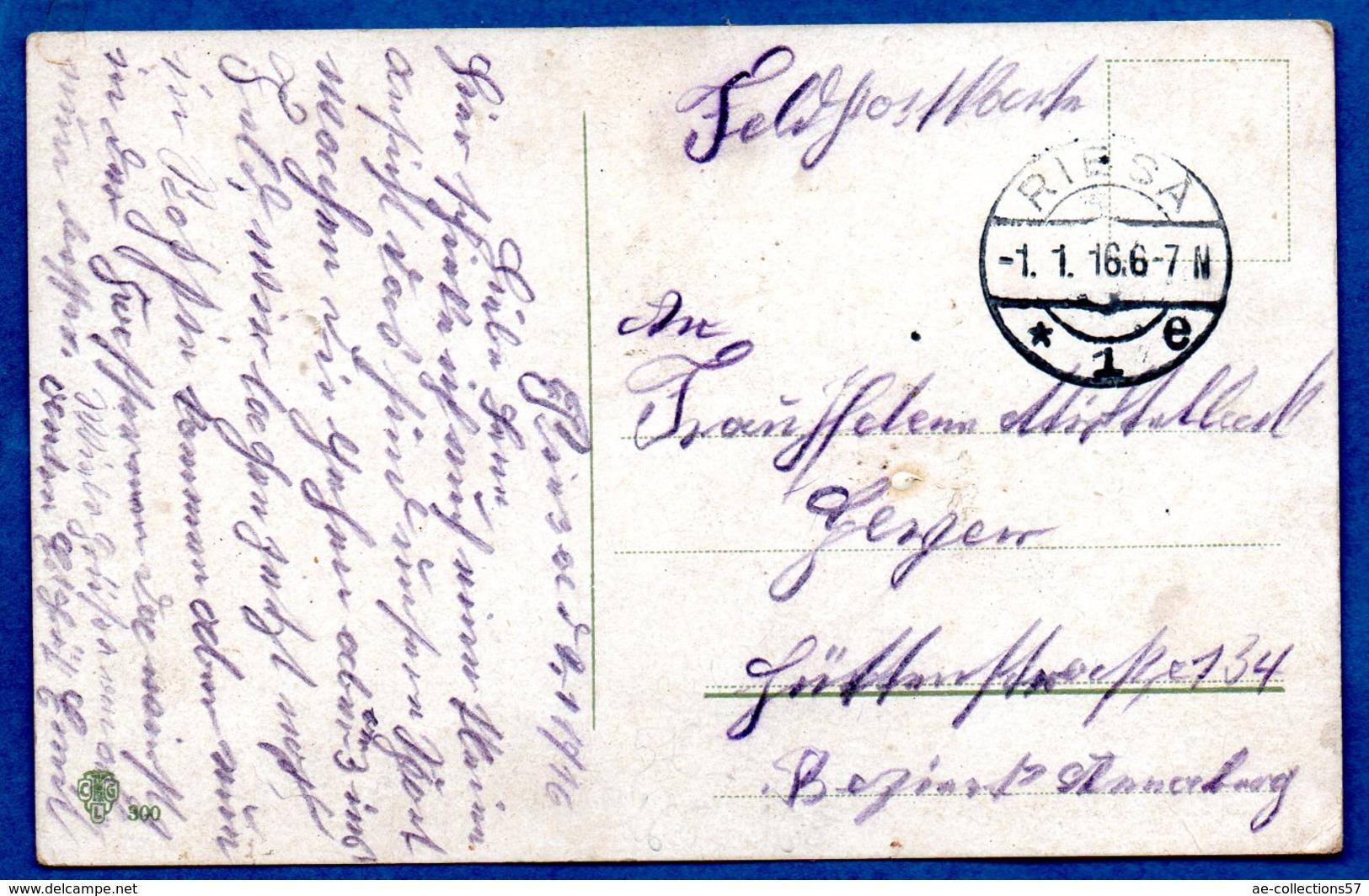 Artillerie Zieht Am Obersten Kriegsherrn Vorbei  -  Cachet Riesa 1/1/1916 - War 1914-18