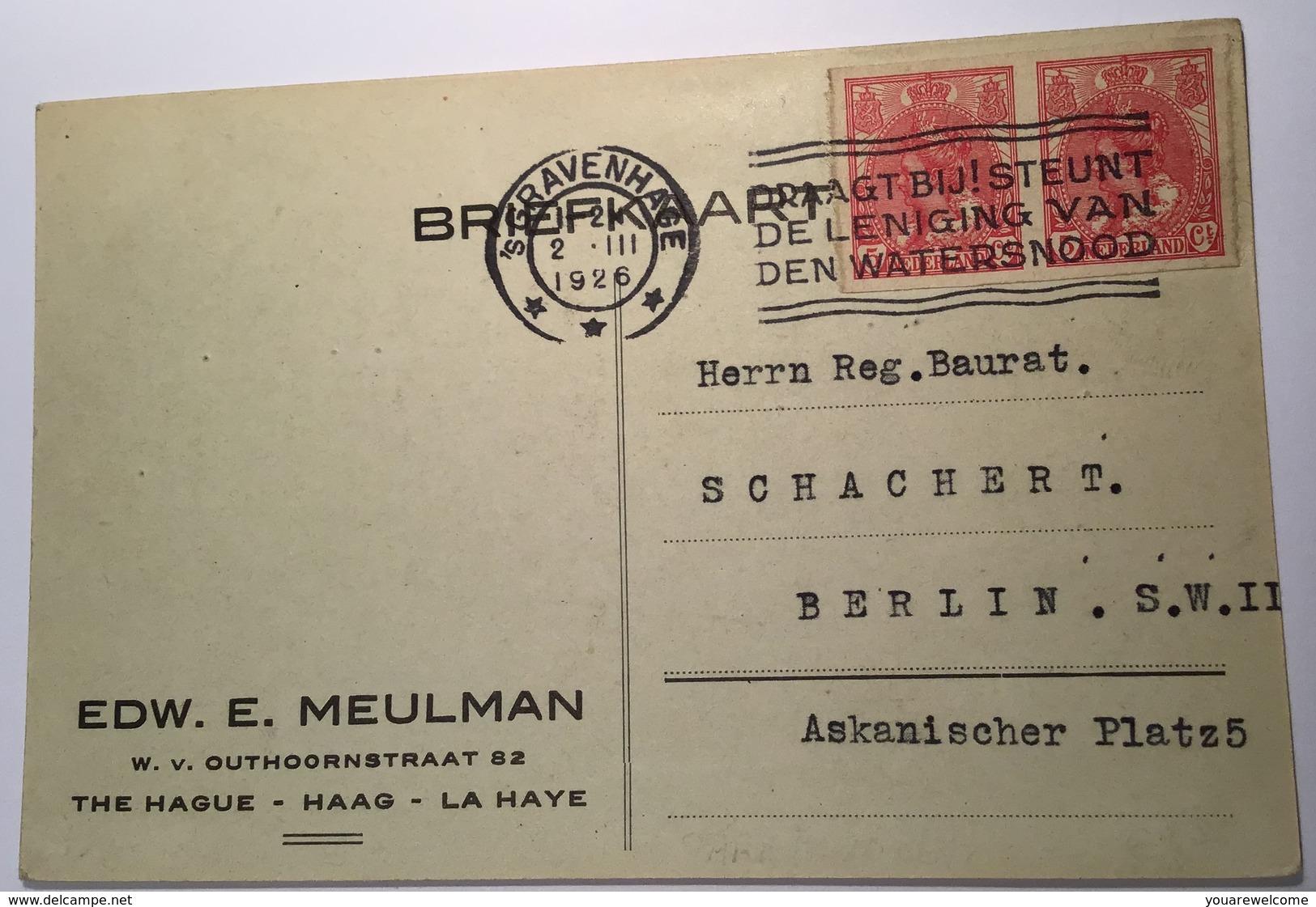 1923 5 Ct Red IMPERFORATED STRIKE ISSUE RARE Cover 'sGravenhage NVPH 82 (Netherlands Nederland Brief Grève Streik Brief - Periode 1891-1948 (Wilhelmina)