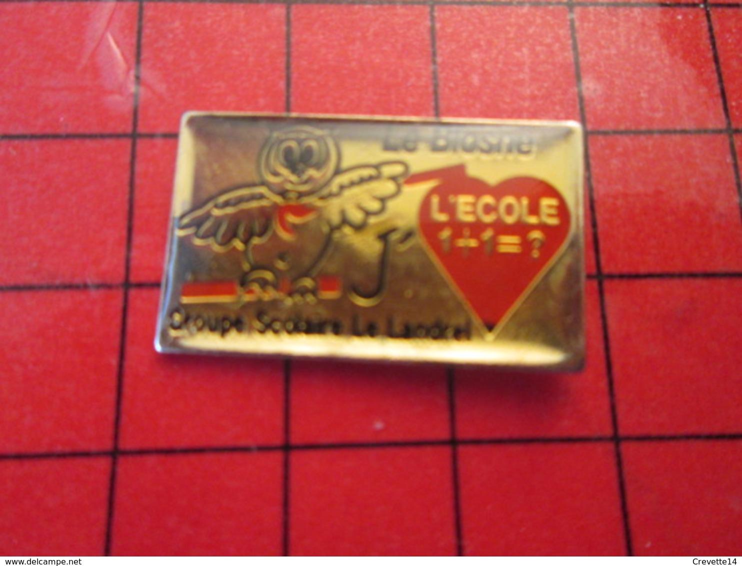 411E Pins Pin's / Rare & De Belle Qualité  THEME : ANIMAUX / CHOUETTE HIBOU ECOLE GROUPE SCOLAIRE LE LANDREL - Animaux