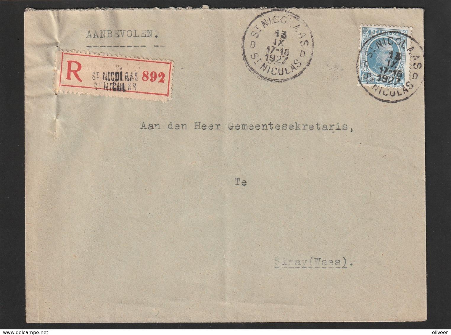 Nr. 207 Op Aangetekende Brief ST. NIKLAAS Naar SINAY - 1922-1927 Houyoux