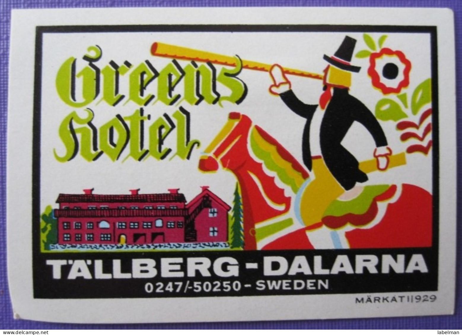 HOTEL HOTELLI HOTELL HOTELLET PENSION GREEN TALLBERG DALARNA MINI SVERIGE SWEDEN DECAL LUGGAGE LABEL ETIQUETTE AUFKLEBER - Hotel Labels