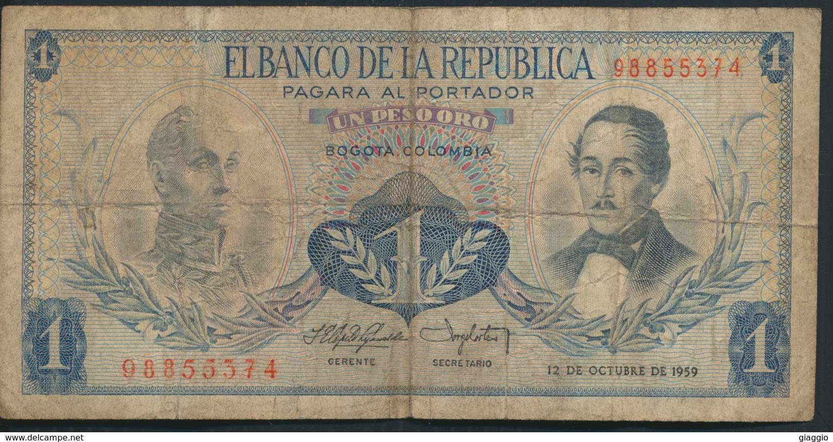 °°° COLOMBIA 1 PESO ORO 1959 °°° - Colombie