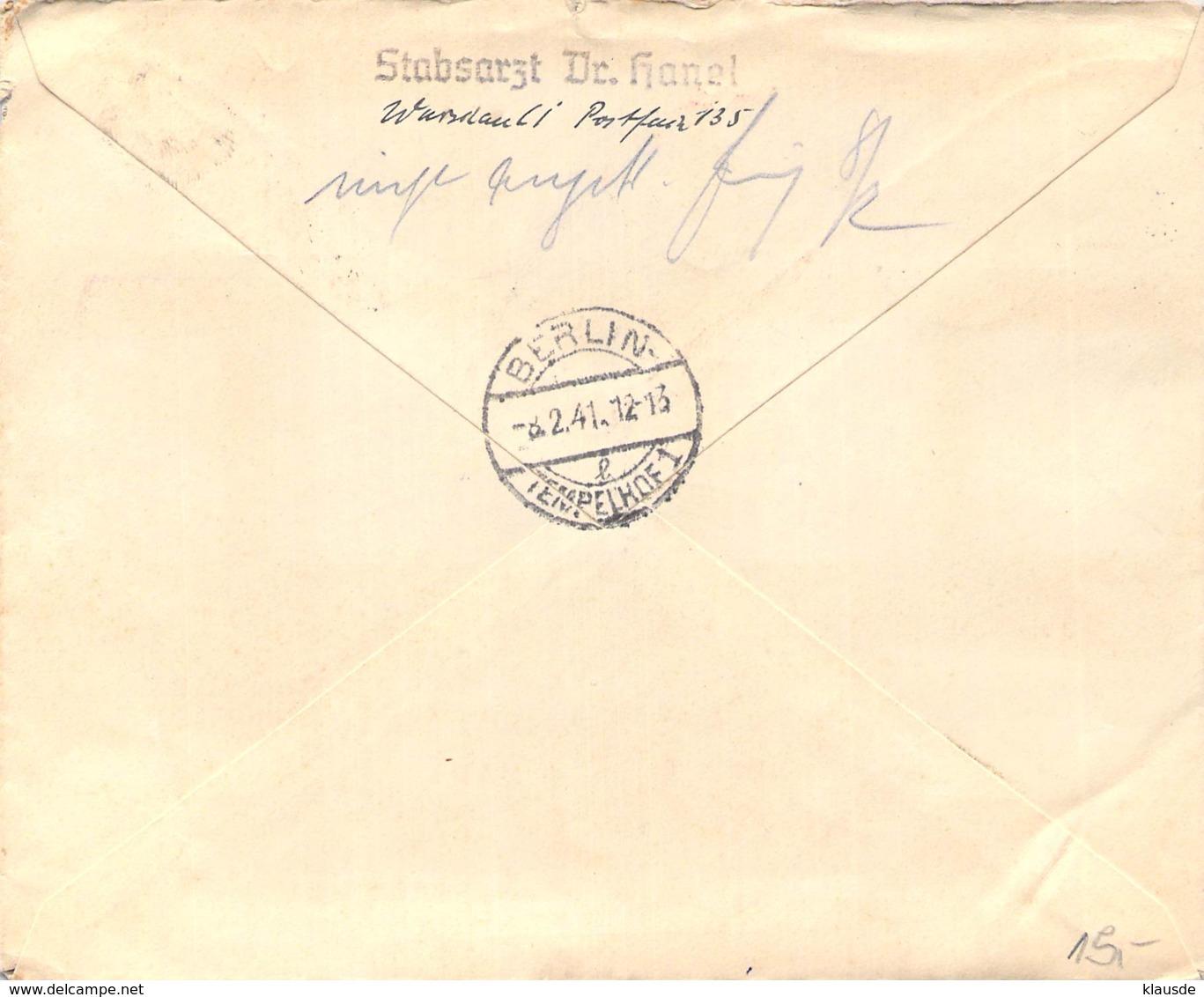MiNr.59-62 Auf R-Brief (Satzbrief) Warschau-Berrlin 1941 AKS - Besetzungen 1938-45