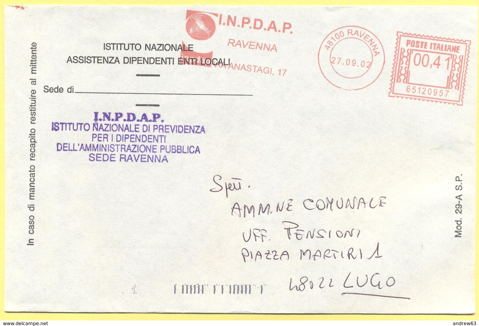 ITALIA - ITALY - ITALIE - 2002 - 00,41€ EMA, Red Cancel - INPDAP - Viaggiata Da Ravenna Per Lugo - Affrancature Meccaniche Rosse (EMA)