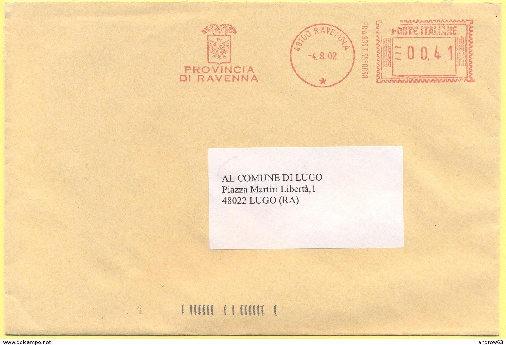ITALIA - ITALY - ITALIE - 2002 - 00,41€ EMA, Red Cancel - Provincia Di Ravenna - Viaggiata Da Ravenna Per Lugo - Affrancature Meccaniche Rosse (EMA)