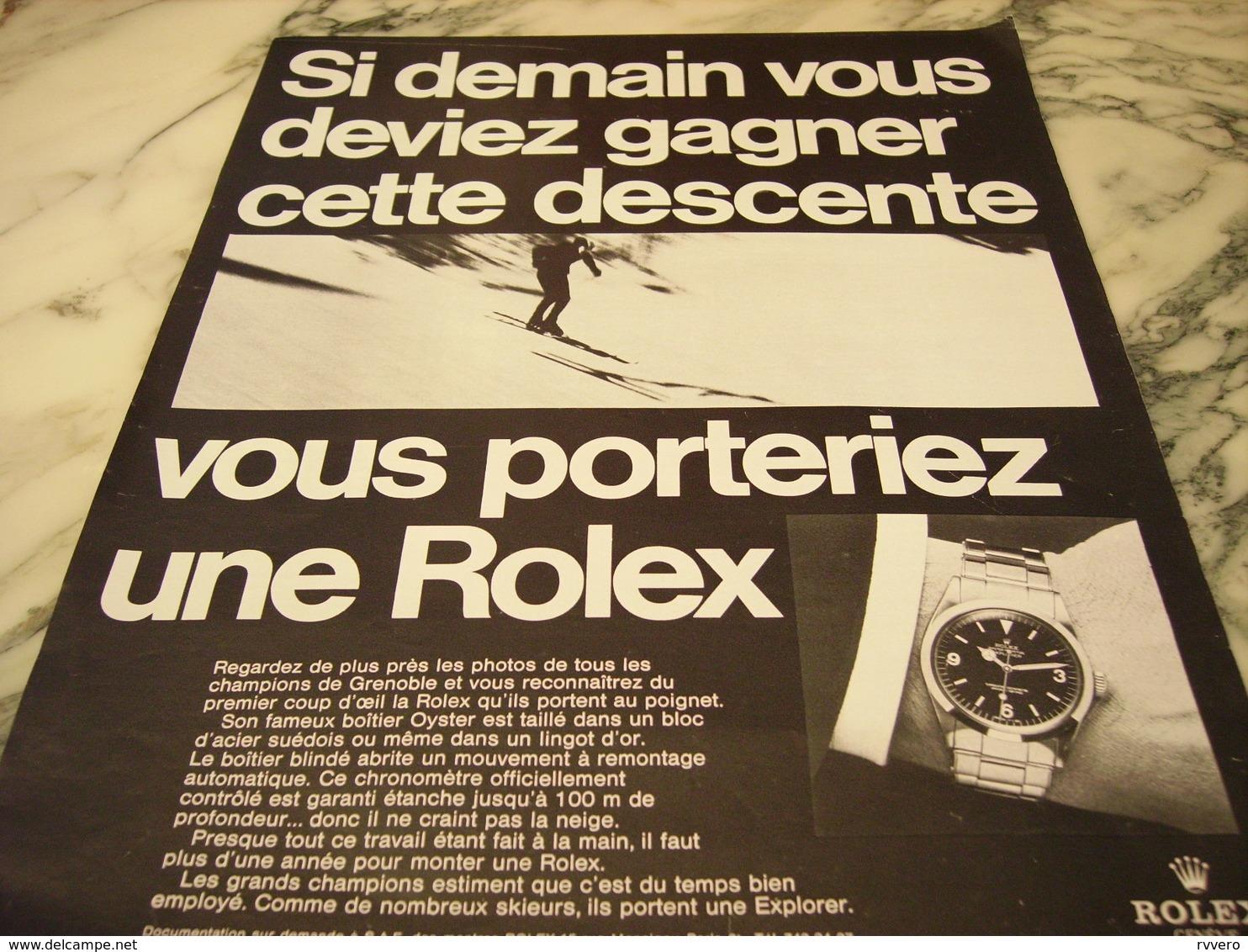 PUBLICITE AFFICHE SI DEMAIN VOUS DEVIEZ GAGNER MONTRE ROLEX 1968 - Autres