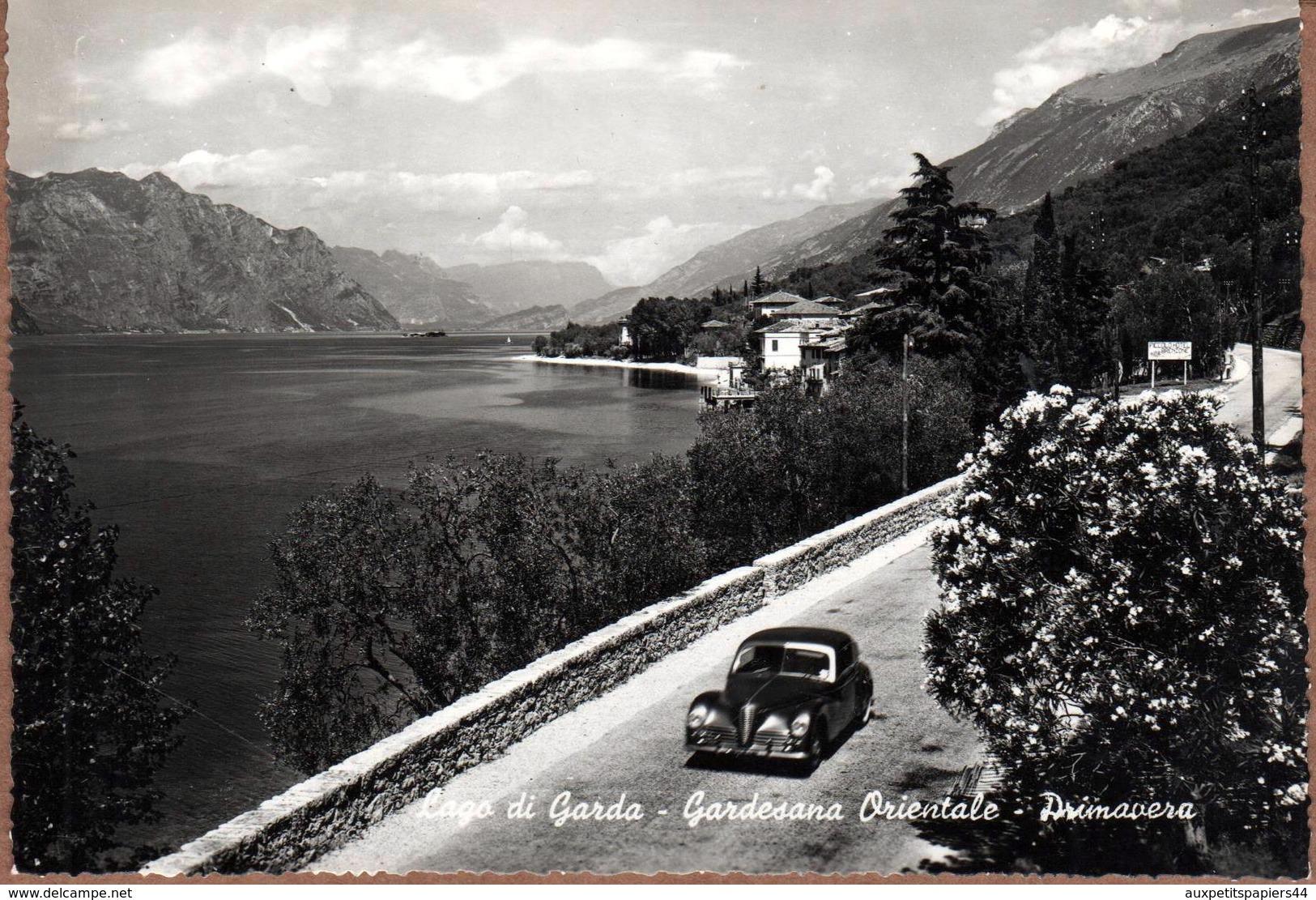 CPSM Noir & Blanc Dentelée Brenzone Sul Garda & Automobile Alfa Romeo 6C 2500 GT Vers 1940 - Lago Di Garda, Primavera - Verona