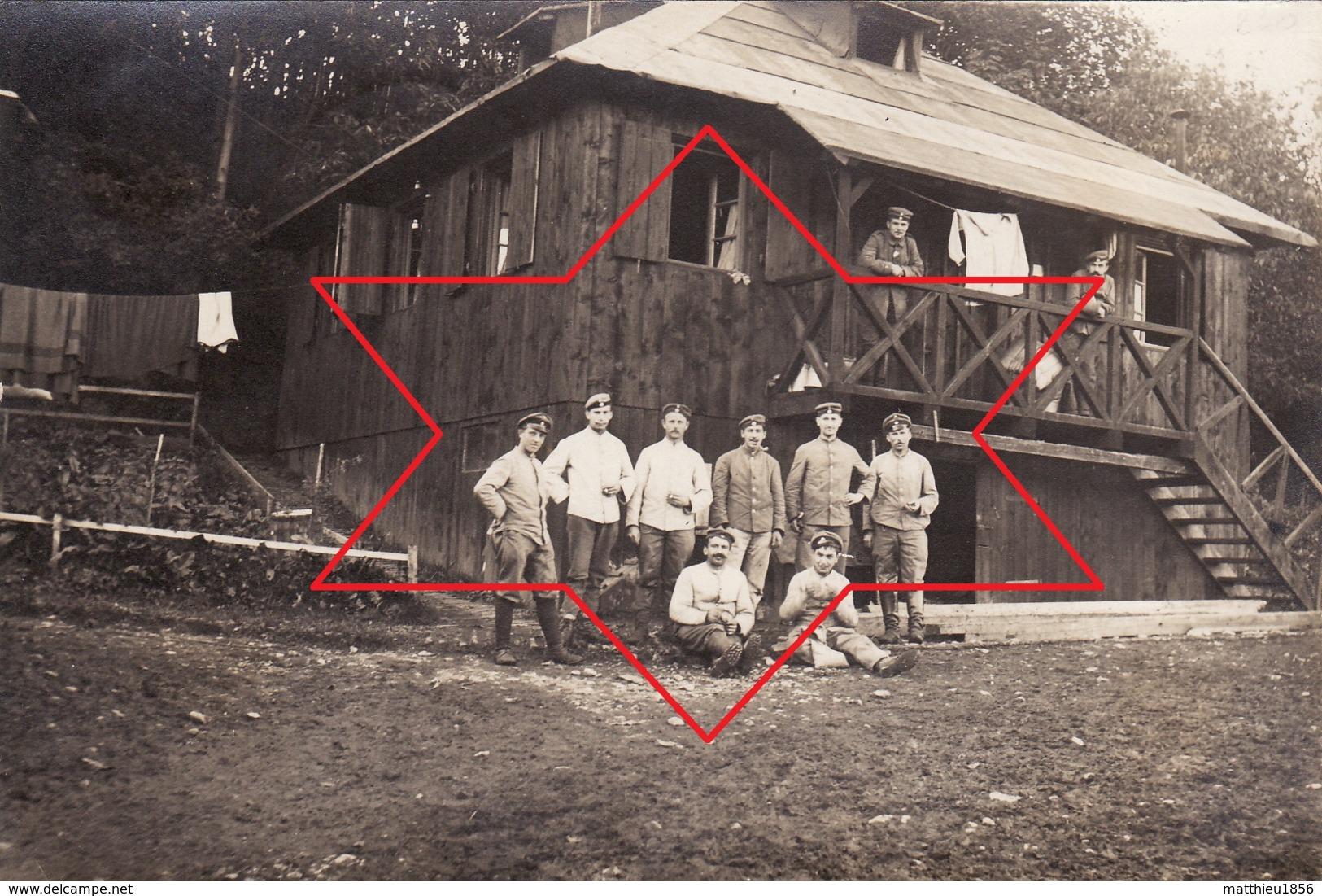 CP Photo 1916 ZIMMERBACH (près Munster) - Soldats Au Lager Protzkasten, Camp Allemand (A205, Ww1, Wk 1) - Autres Communes