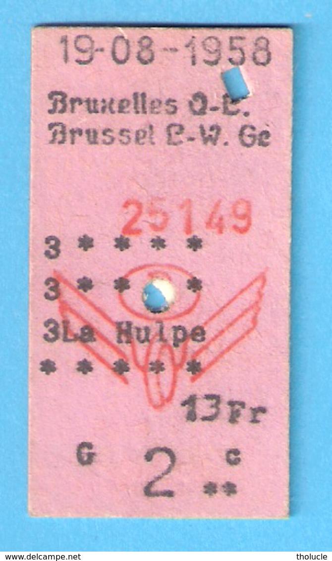 Ticket De Transport-Chemin De Fer-Train-Belgique-België-Bruxelles Q-L-La Hulpe-13 FR- 1958 - Europa