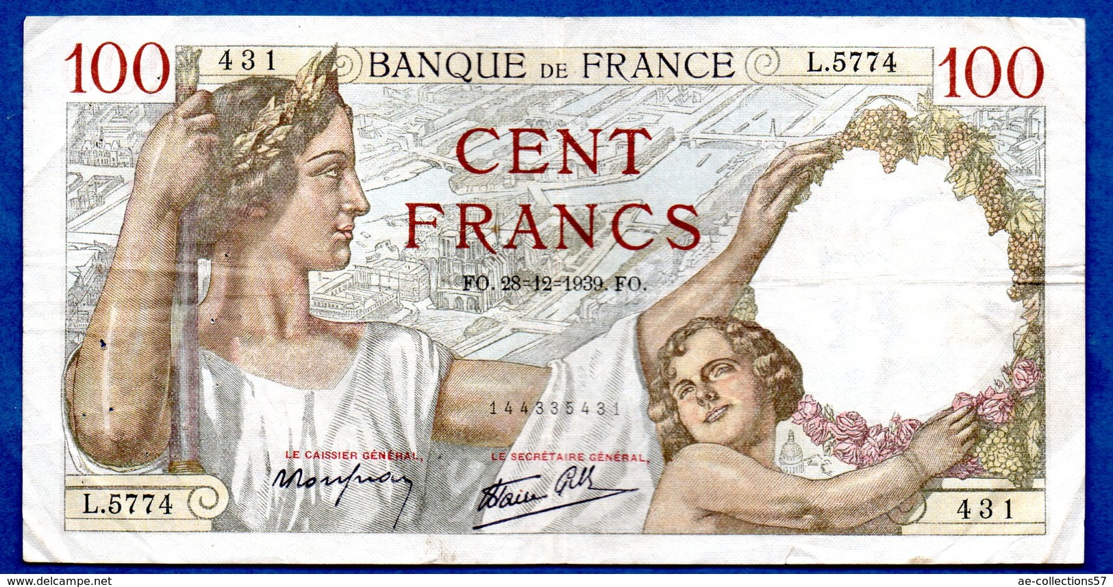 Sully -  100 Francs      28/12/1939 -    état  TB+ - 100 F 1939-1942 ''Sully''