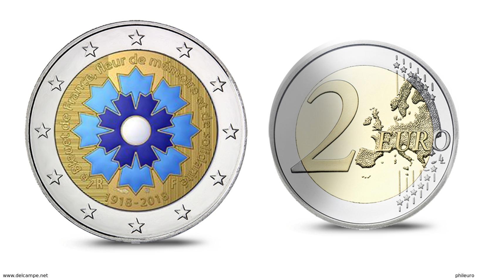 """France 2018 : 2€ Commémorative Colorisée """"Le Bleuet"""" (BE En Coffret) - DISPONIBLE - Francia"""