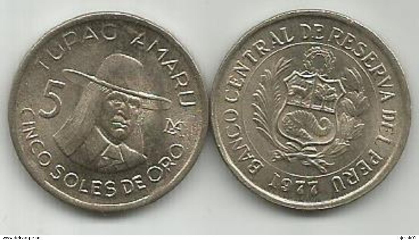 Peru 5 Soles De Oro 1977. High Grade - Pérou