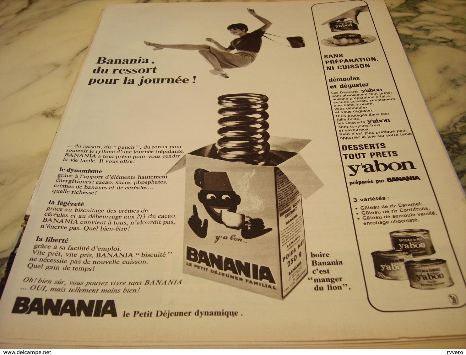 ANCIENNE PUBLICITE BANANIA DU RESSORT 1966 - Publicités