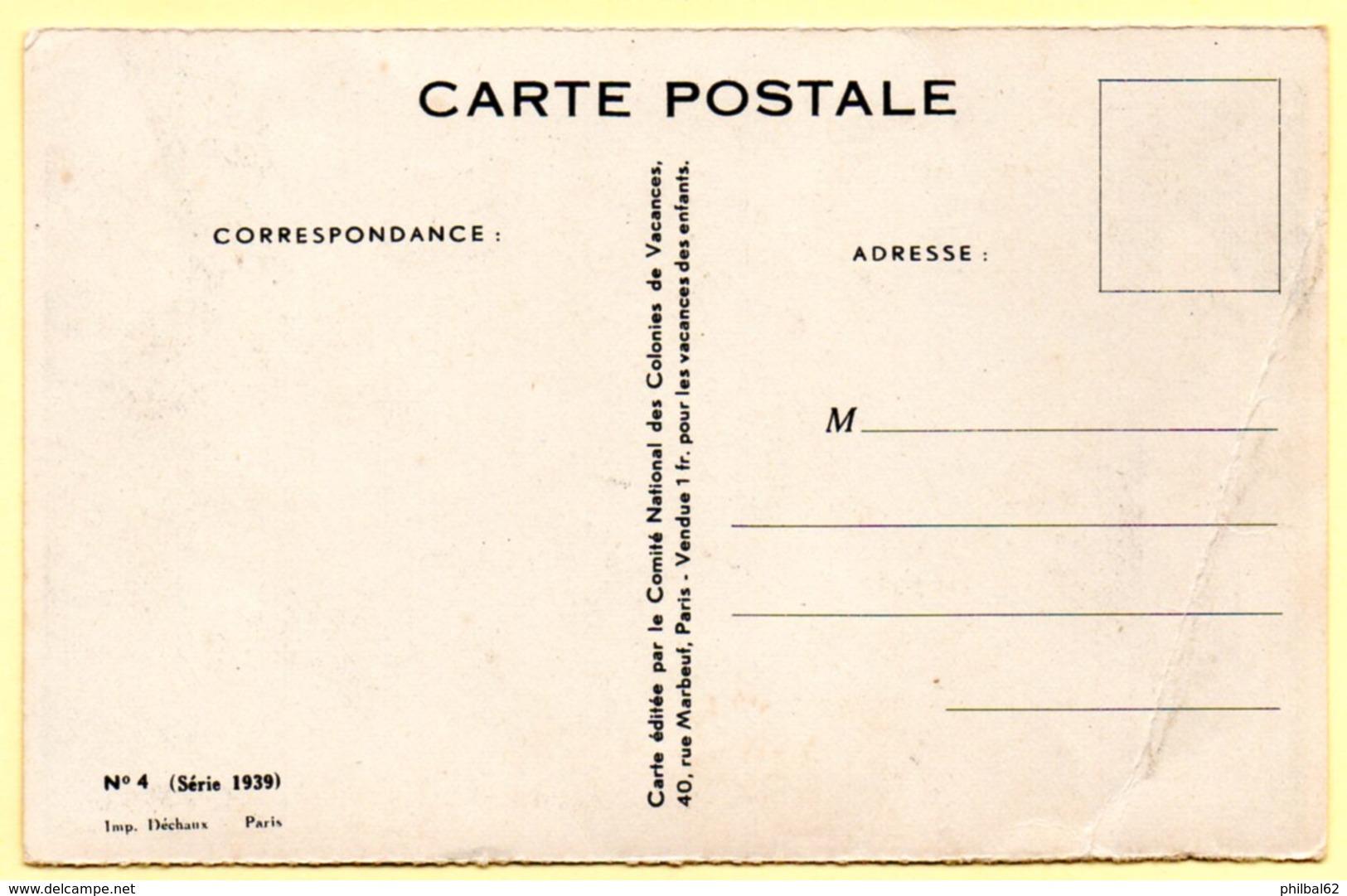 Carte Postale Vendue Au Profit Du Comité National Des Colonies De Vacances. Illustration Redon. Fillette Et 2 Chiens. - France