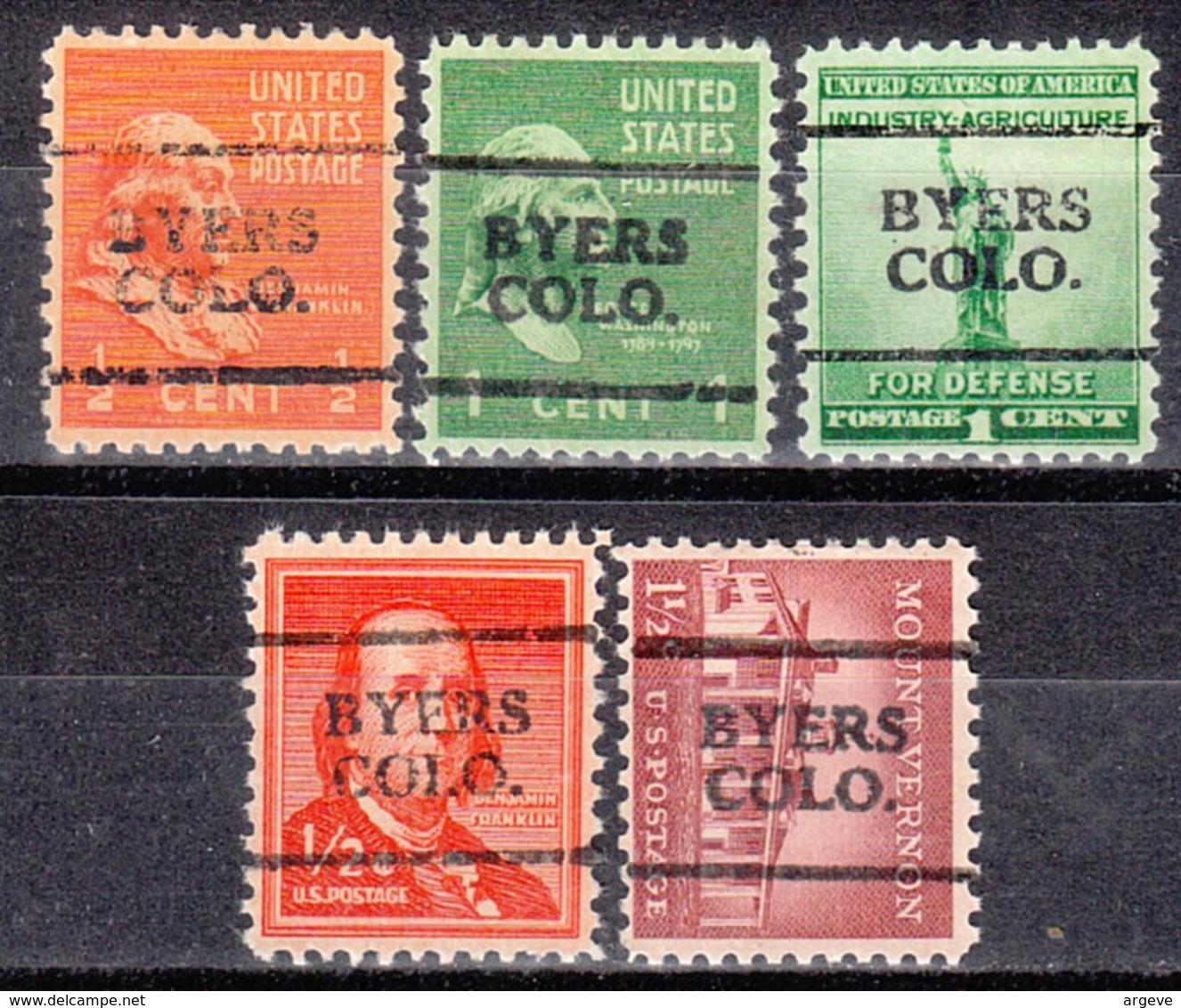 USA Precancel Vorausentwertung Preo, Locals Colorado, Byers 701, 5 Diff. - Vereinigte Staaten
