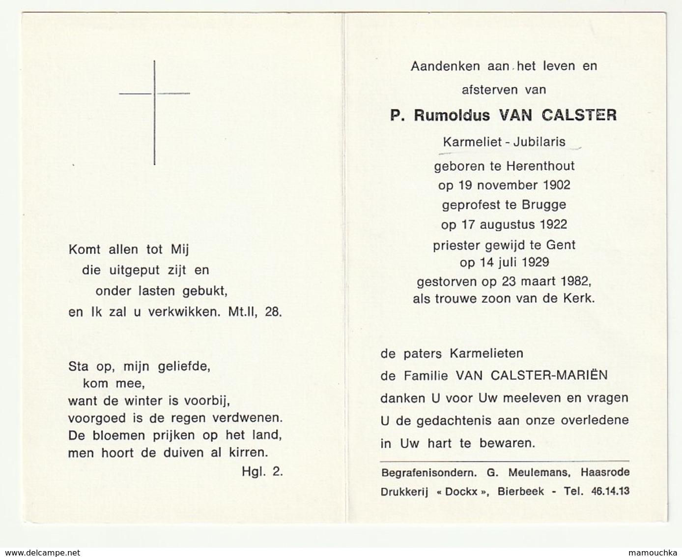 Doodsprentje P. Rumoldus VAN CALSTER Karmeliet Jubilaris Herenthout 1902 Priester Brugge Gent 1982 - Images Religieuses