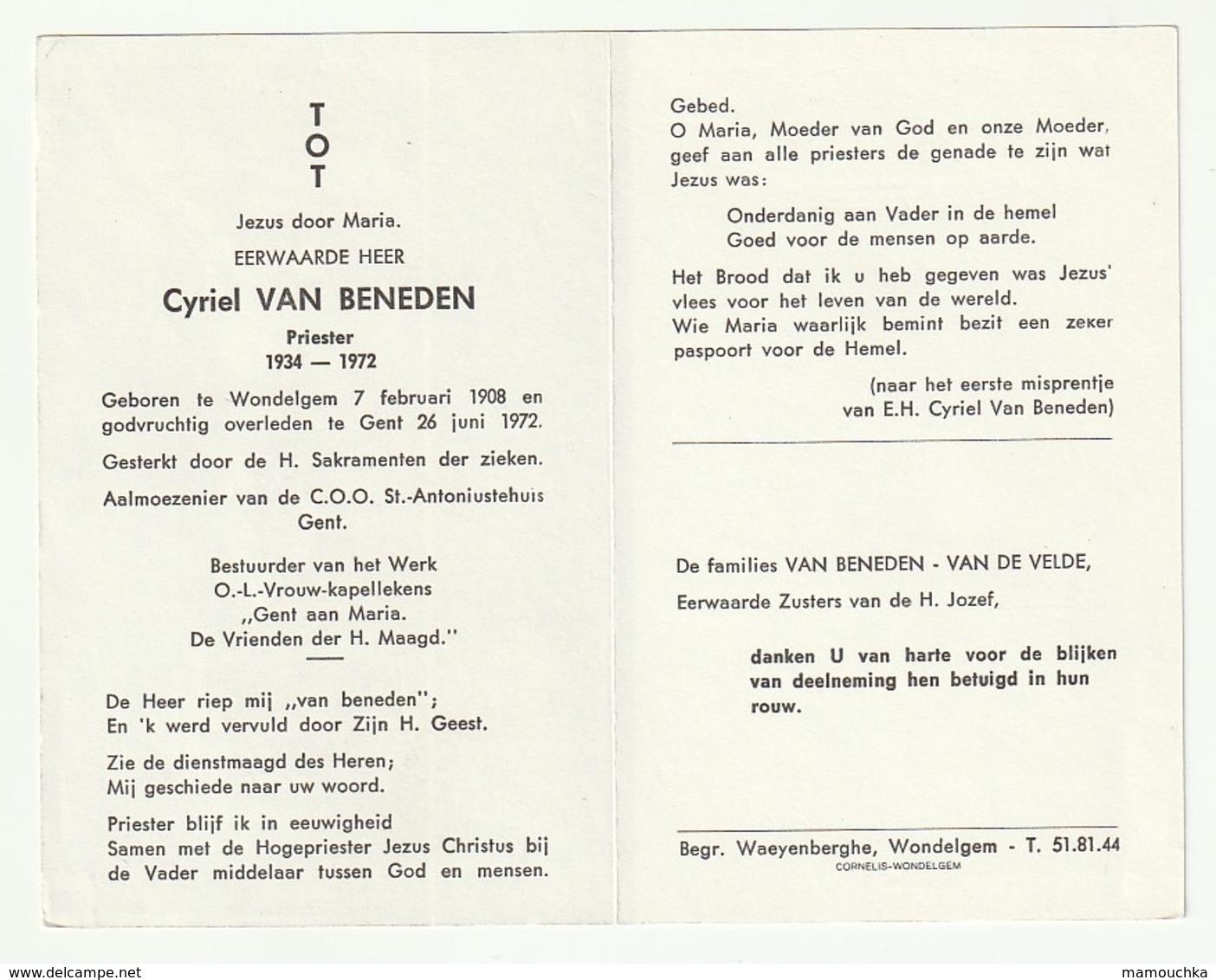 Doodsprentje Cyriel VAN BENEDEN Priester Wondelgem 1908 Gent 1972 Almoezenier C.O.O. - Images Religieuses
