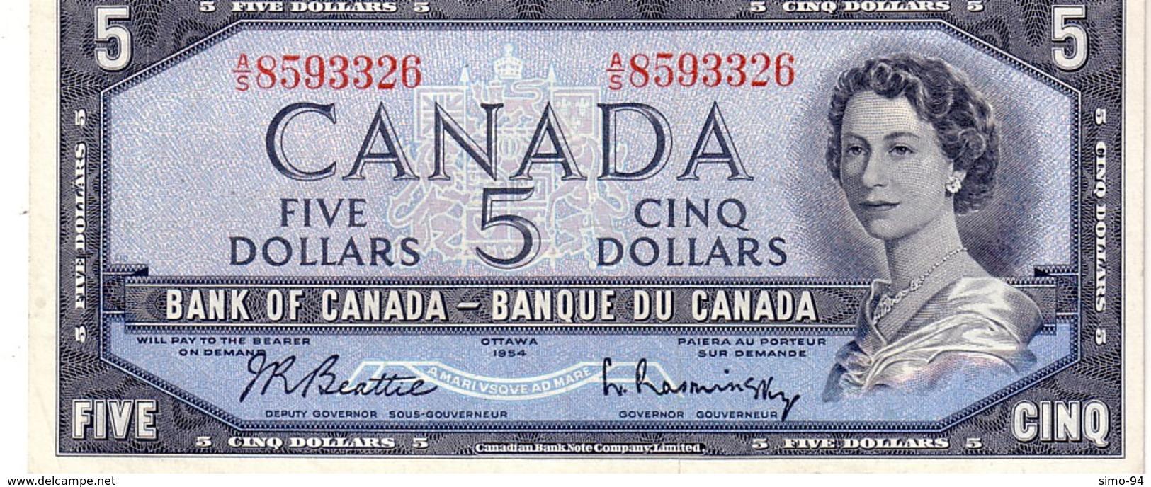 Canada P.77b 5 Dollars 1954 Unc - Canada