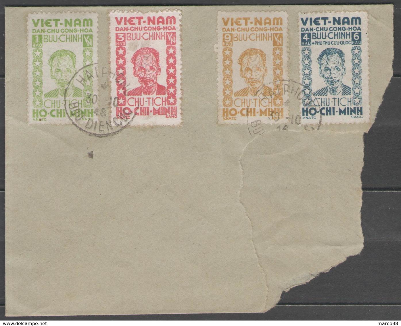 VIETNAM Du Nord:  N°40/43 Oblitérés Du 30/10/1946 Sur Partie D'enveloppe - Viêt-Nam