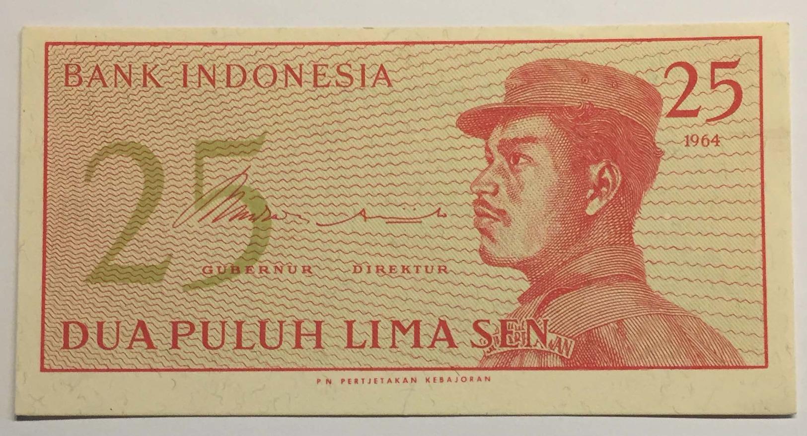 Bank Of Indonesia - Dua Puluh Lima Sen - 1964 - Indonésie
